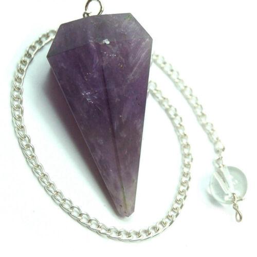 Purple Amethyst Pendulum Facet with Chain//Quartz Gemstone Ball