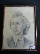 Frauenporträt , Handzeichnung, unleserl signiert mit 47 ,gerahmt   ( F15-38)