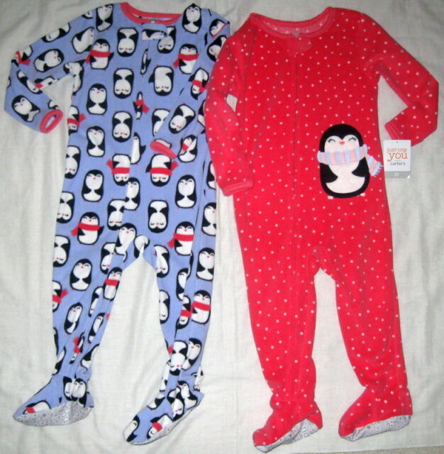 NWT Carter/'s 2T 5T Girl/'s Owl Microfleece Footed One-Piece Pajamas White