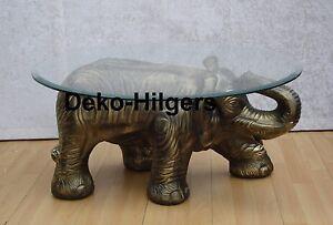 Tisch-Elefant-Figur-Glas-Couchtisch-Beistelltisch-Tischfuss-Skulptur-Deko-SG