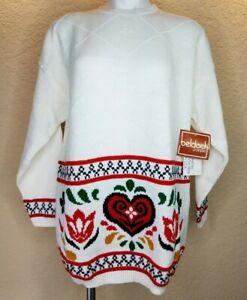 Vtg-Beldoch-Popper-80s-Sweater-Long-Sleeve-Folk-Art-White-USA-Made-Large-NWT