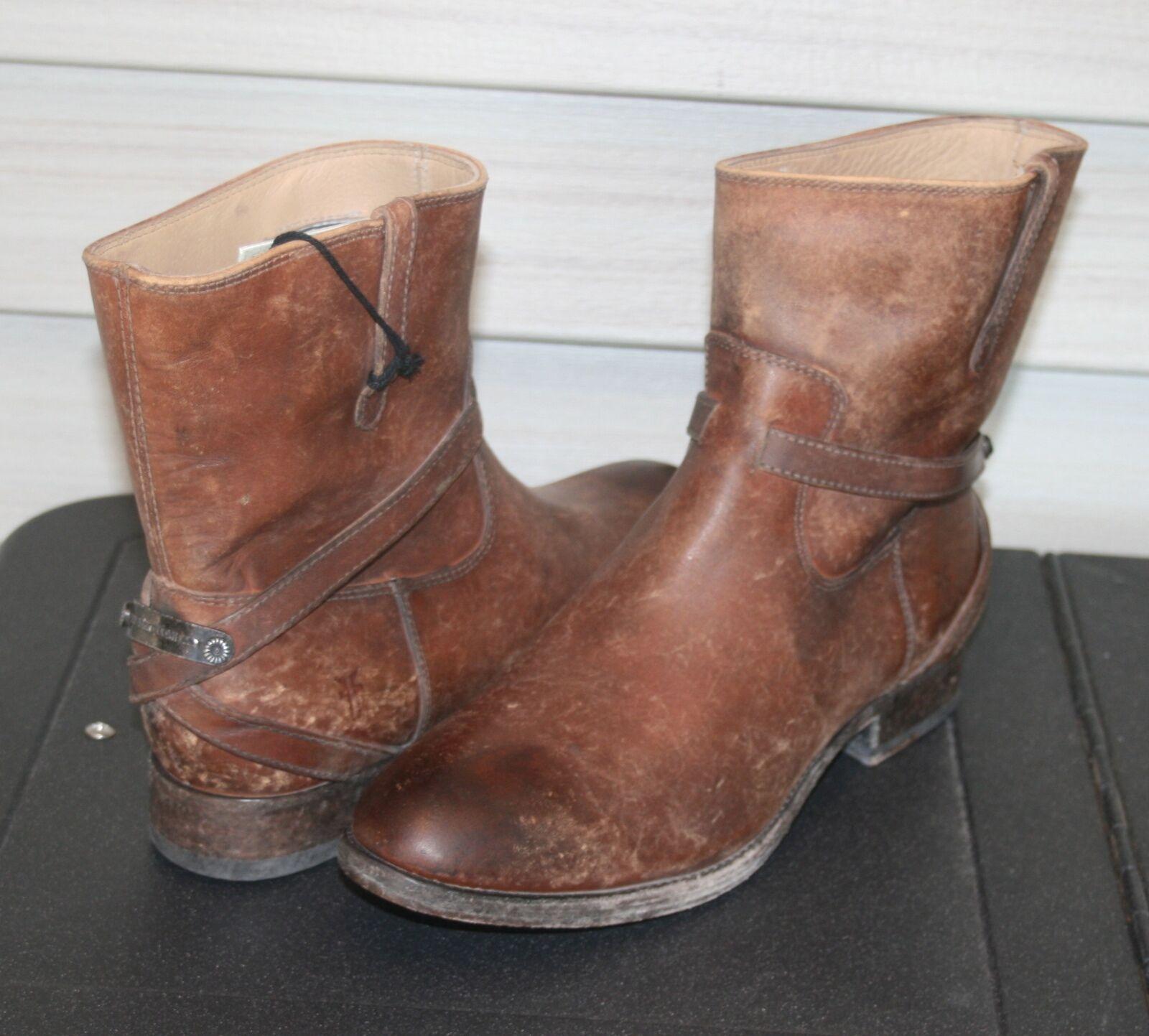 FRYE LINDSEY PLATE SHORT US 7 Woman's Ankle Boot Cognac Cognac Cognac Stone Wash e4e16d