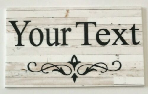Custom Personalised Name Your Text White Wood Sign Plaque Hanging Chic Beach