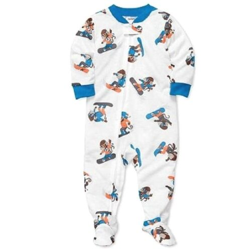 CARTER/'S 1PC SNOW BOARDING MONKEY BOY GIRL FOOTED L//S SLEEPER PAJAMAS 24M