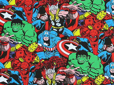 FAT QUARTER  MARVEL RETRO COMIC BOOK SUPERHERO FABRIC SUPER HERO CAPTAIN AMERICA