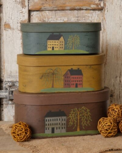 """3 PC OVAL NESTING BOXES SALTBOX HOUSES WILLOW TREES LARGEST 10/"""" LONG"""