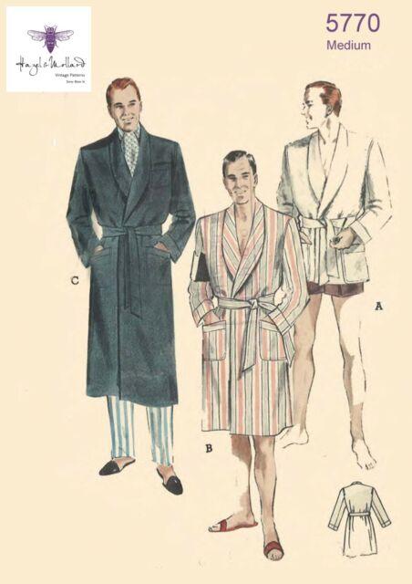 Vintage 1950/'s Sewing Pattern Men/'s Dressing Gown Robe Smoking Jacket Medium