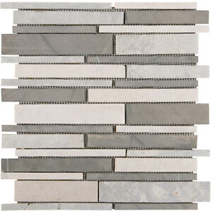 Das Bild Wird Geladen Naturstein Mosaik Marmormix Grau Beige Wand Bad  Fliesenspiegel