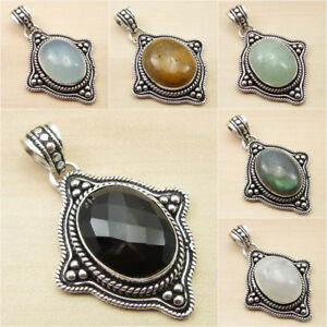 BLACK-ONYX-amp-Other-Gemstone-ANTIQUE-STYLE-Pendant-925-Silver-Plated-Jewelry