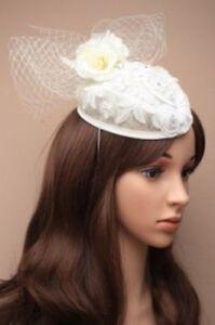 Ivory Cream off white  fascinator clip   Wedding Races