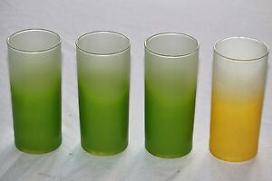 4-Frosted-Blendo-Fade-Glasses-3-green-and-1-yellow