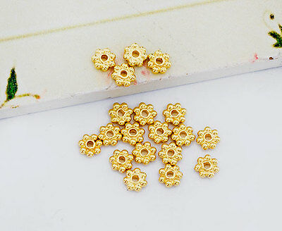 925 Sterling Silver 24k Gold Vermeil Style 20 Daisy Spacer Beads 4mm.