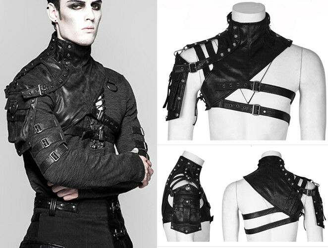 Gurtzeug Halskette Tasche Leder Gothic Punk Steampunk Mode PunkRave Herren Schwa
