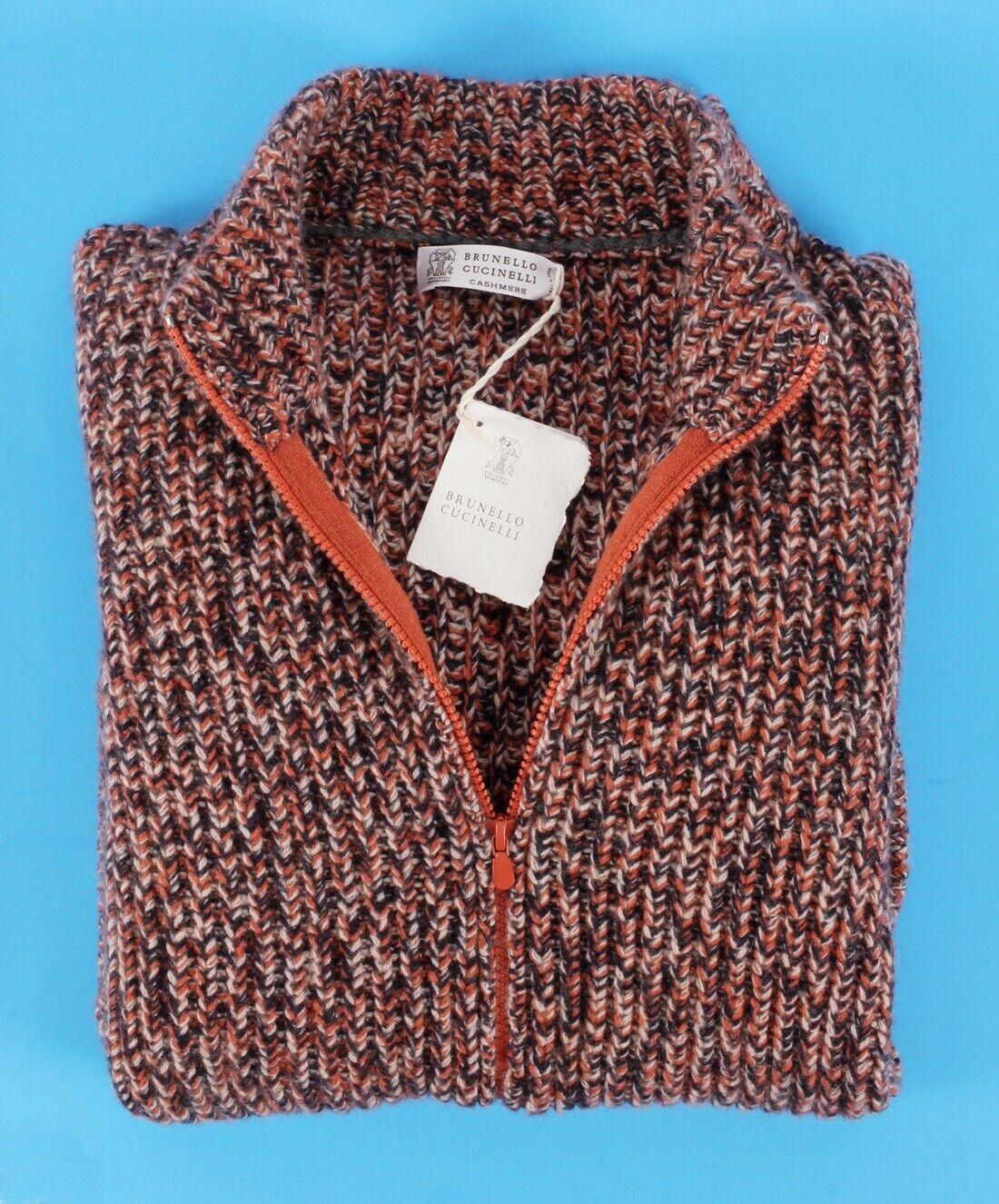 3045 NWT BRUNELLO CUCINELLI 100% CASHMERE Full Zip Sweater - Orange Melange L