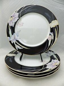Mikasa-Charisma-Black-pattern-set-lot-of-4-Dinner-plates-10-5-8-034-1997-EXC