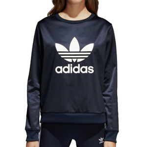 Adidas Originals Trefoil Crew Women s Sweat Shirt Legend Ink White ... 5e9f3847177