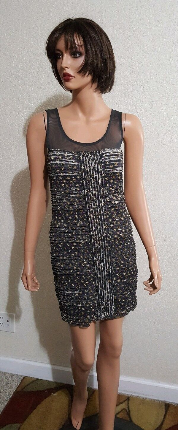 FREE PEOPLE SHEAR SHOULDER STRETCH SHEATH FITTED SLEEVELESS DRESS  SMALL