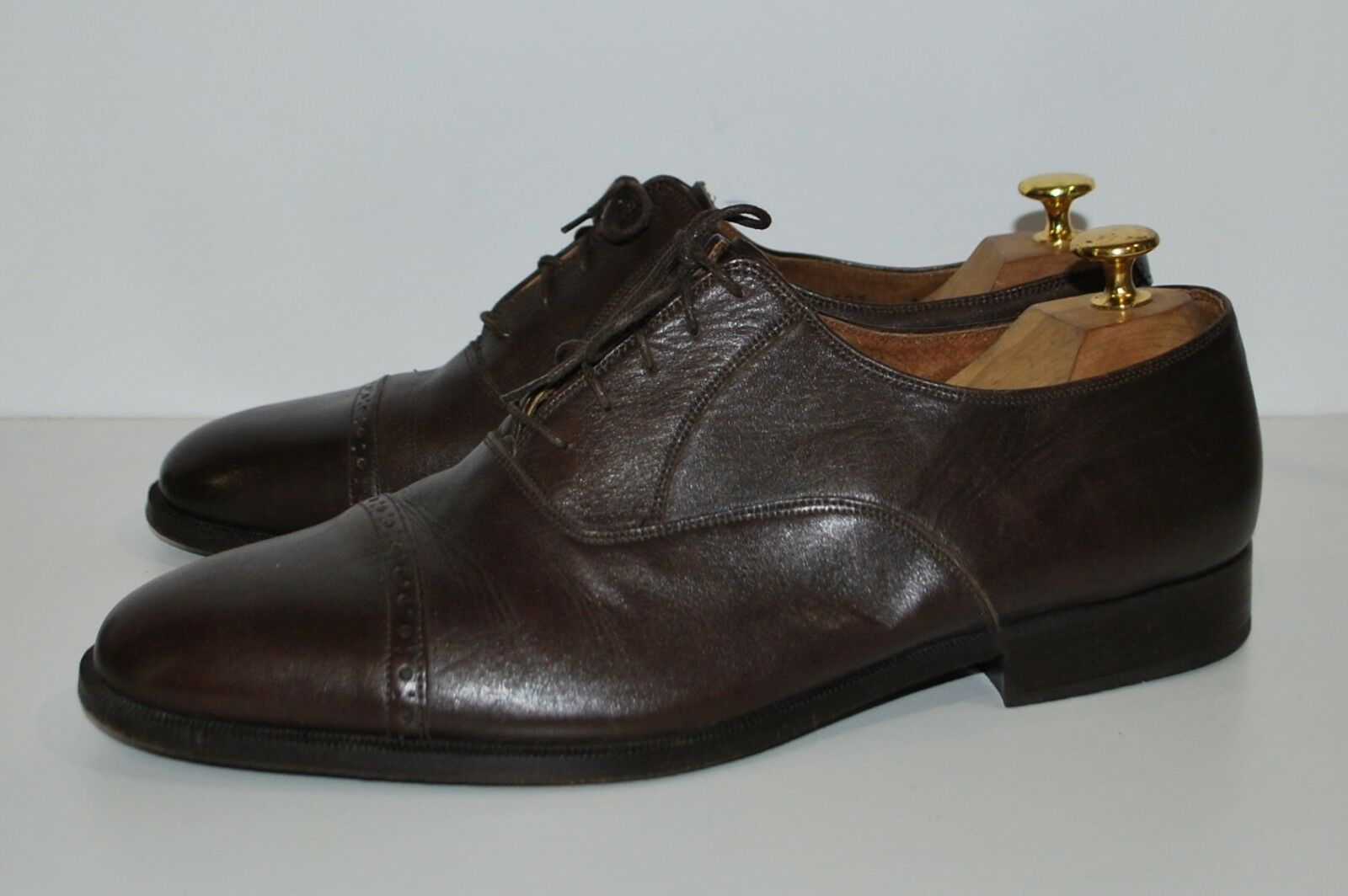 Olivier 12 Wide Up Brown Lace Up Wide Pearl Cap Toe Custom Made Shoe Very Fine Pelle 09b793
