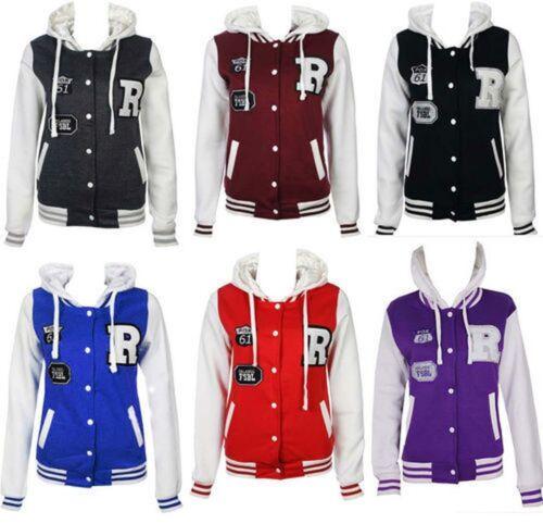 Womens Ladies Plus Size R-FOX Varsity baseball jacket Tracksuit Hoodie 16 TO 24