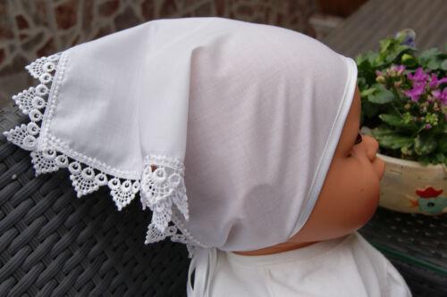 Taufhaube Taufkleidung * Baby Kopftuch mit Spitze *Taufe *Taufkleid Mütze