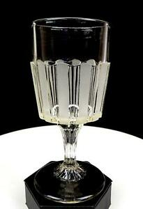 FROSTED-RIBBON-BAKEWELL-PEARS-CO-EAPG-NON-FLINT-GLASS-6-5-8-034-WATER-GOBLET-1870s