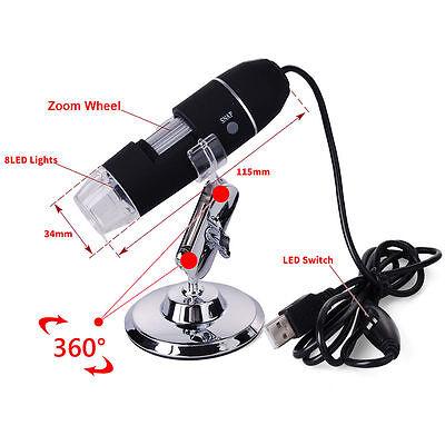 8LED Digital USB Mikroskop 20-800X Fach Kamera Foto Lupe video Kamera TE071