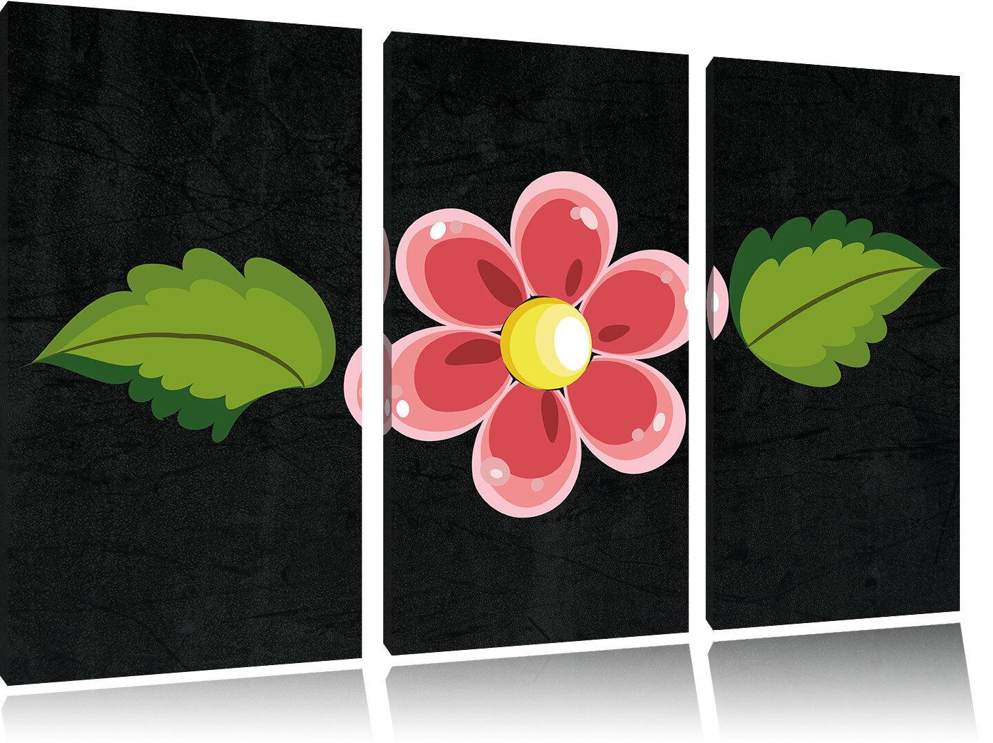 Bastante Pequeño Flor con Foto Browse 3-Teiler Foto con en Lienzo Decoración de Pa rojo  1b0eb0