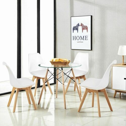 80cm Round Dining Table Glass And 4 Padded Tulip Chairs Grey Set Kitchen Cafe UK