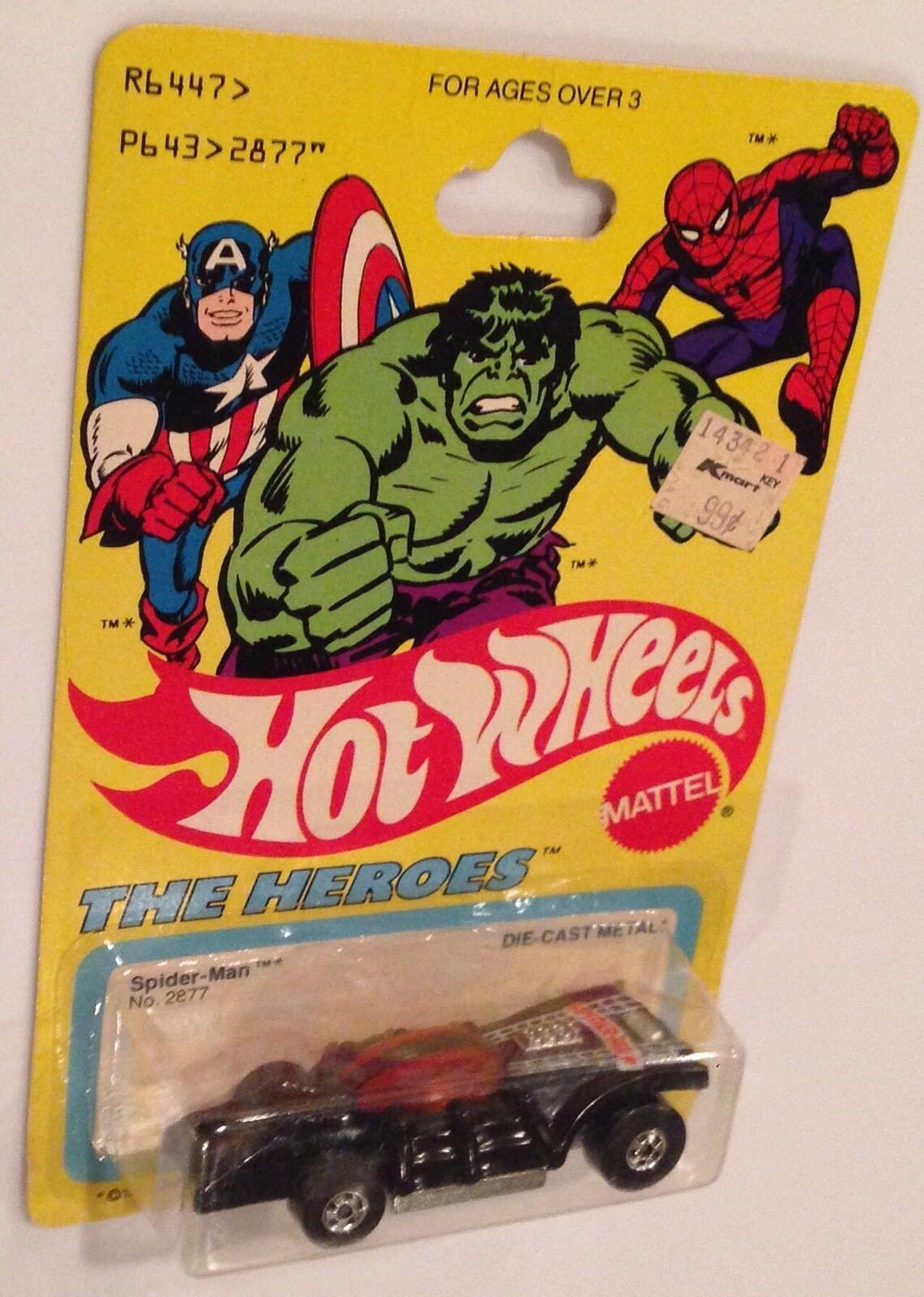MONMC 1979 Hot Wheels The Heroes   schwarz Spider-Man Car with Basic Wheels