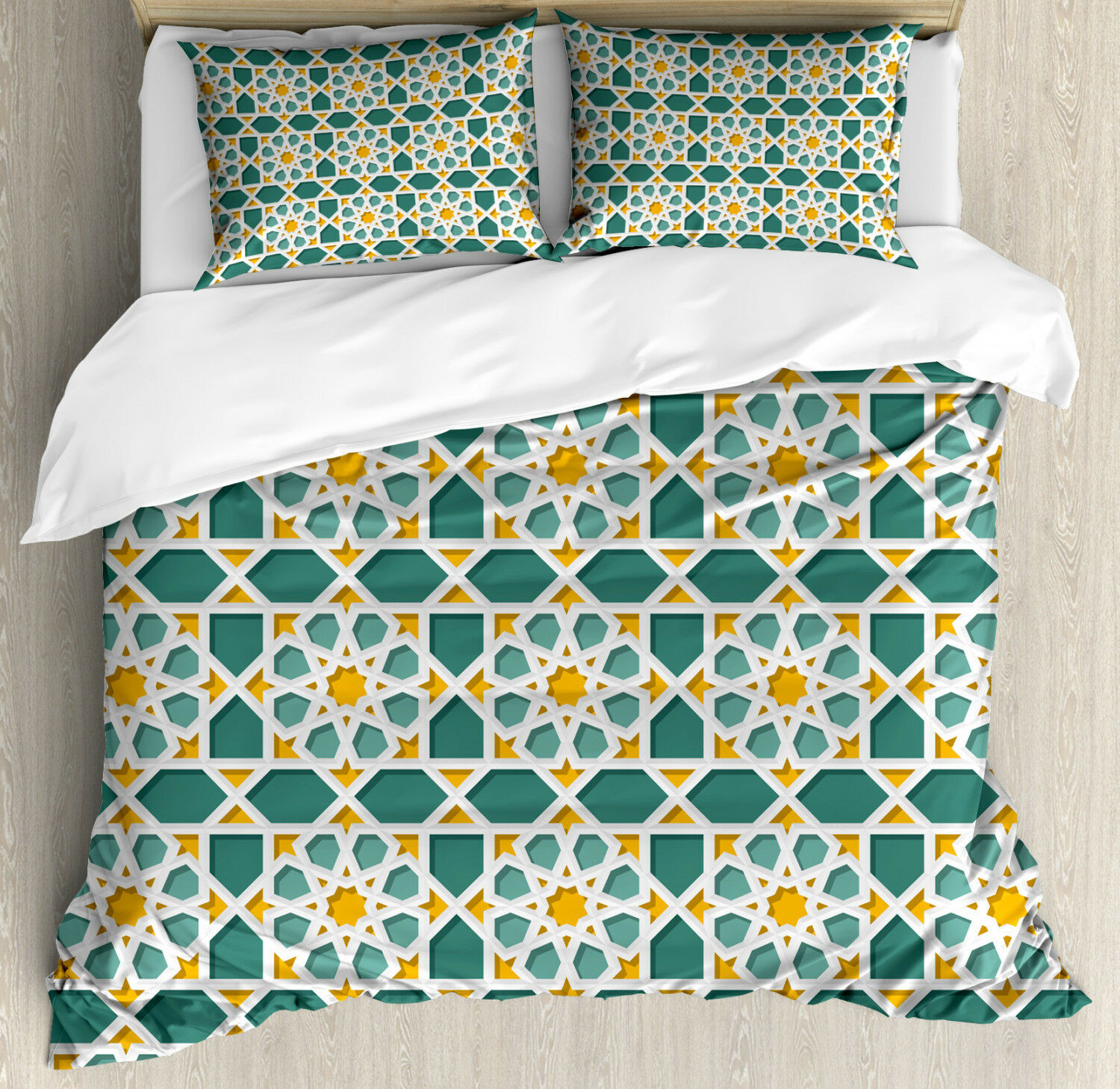 Teal Duvet Cover Set with Pillow Shams Mgoldccan Star Ornament Print