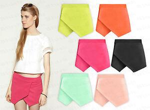 Women-Ladies-New-Skorts-Shorts-Skirt-Neon-Plain-Culottes-Irregular-Flanging-Wrap