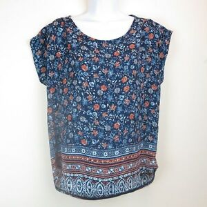 Women-039-s-Floral-Blouse-Cap-Short-Sleeve-Top-Pink-Rose-in-Red-Blue-Size-M-L-New