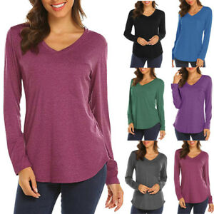 2c93f1f8fc76 Women Ladies Spring Long Sleeve V Neck T Shirt Pullover Casual Loose ...