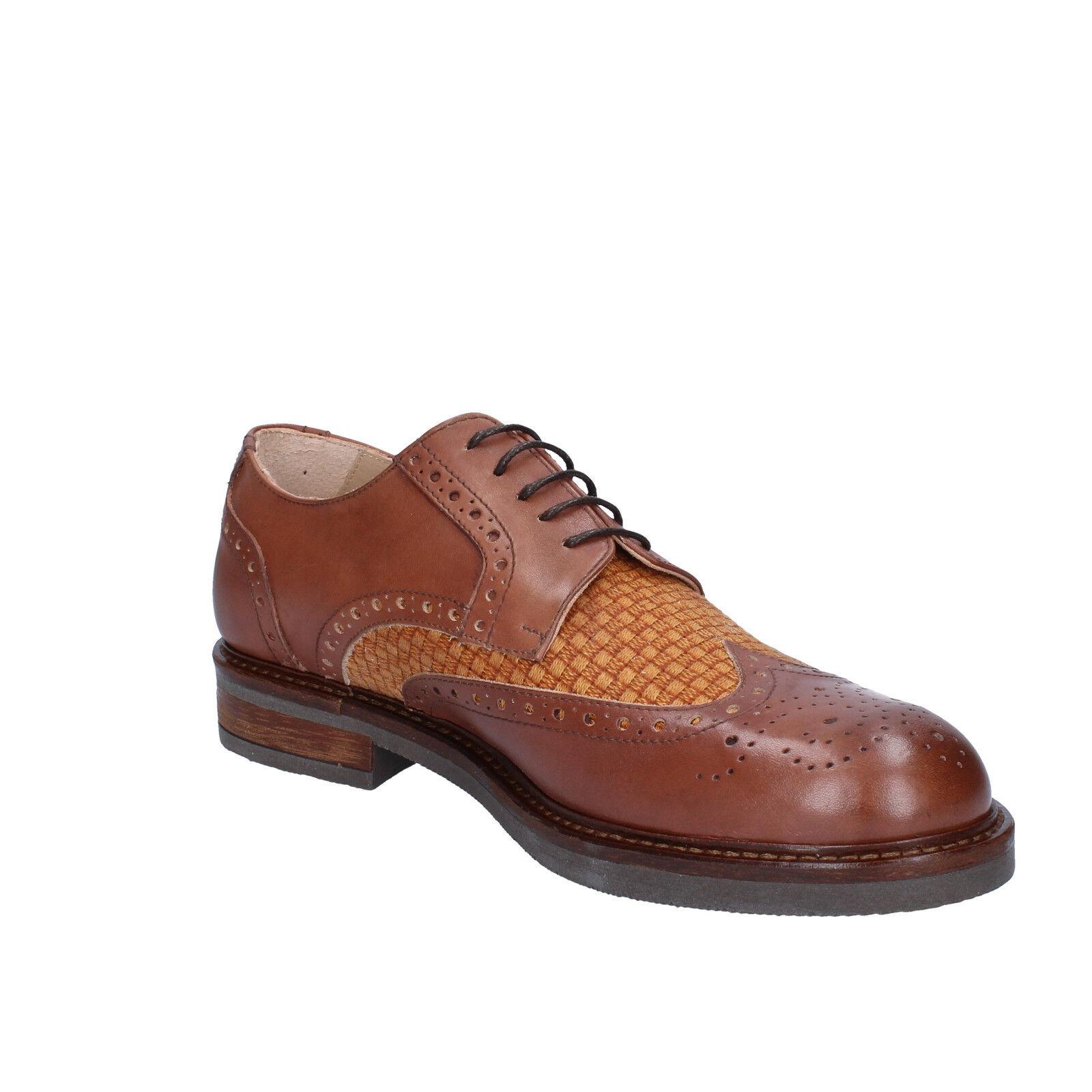 Herren schuhe braun FDF Schuhe 41 EU elegante braun schuhe leder textil BZ344-C 1dfb5c