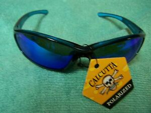 CALCUTTA BACKSPRAY BLACK BLUE FRAME BLUE MIRROR POLARIZED LENS SUNGLASSES NEW