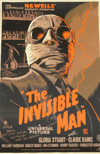 """cult horror classic /""""l/' homme invisible/"""" Framed movie print photo affiche"""