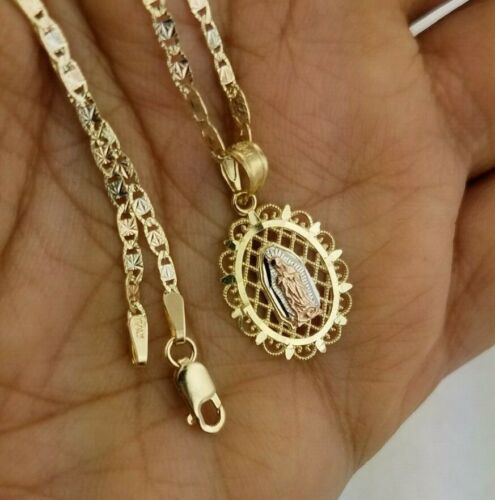 "Real 14k Rose Jaune Or Vierge Marie Ovale Pendentif Charme 18/"" Valentino Chaîne"