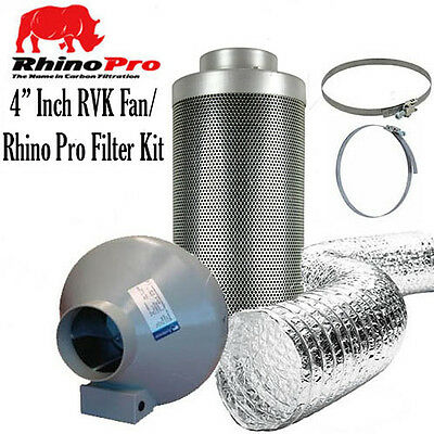 "4"" Rhino PRO Carbon Filter RVK Fan Kit choice of ducting OTHER SIZES AVAILABLE"