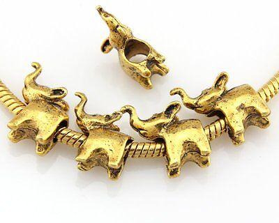30ps Antique Gold Tone Elephant Charm Beads Fit European Bracelet J016