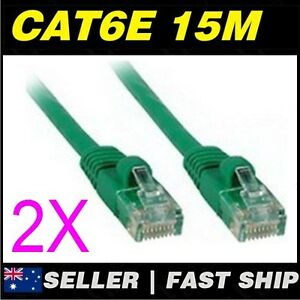 2x-15m-Cat-6-Cat6-Green-Premium-Ethernet-Network-LAN-Patch-Cable-Lead