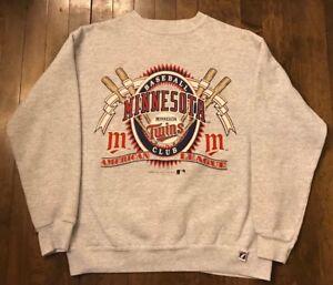quality design e21fb 9f029 Details about Minnesota Twins Vintage 90s Logo 7 MLB Baseball Crew Neck  Sweatshirt Men's Large