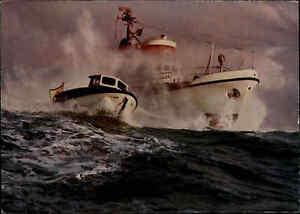 Schiffsfoto-AK-Seenot-Rettungsboot-und-Tochterboot-Rescue-Ship-Schiff-der-DGzRS