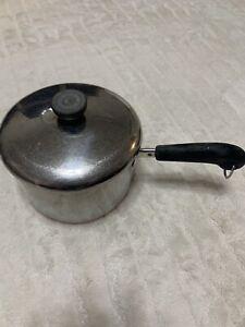 Vintage-Revere-Ware-SS-1801-Sauce-Pan-amp-Lid-3-Qt-Copper-Clad-Bottom-Clinton-ILL