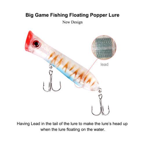 10pcs//lot Topwater Popper Lure Bass Saltwater Crankbait Surface Fishing Lure