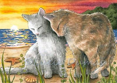 ACEO art print from art painting Cat 583 ocean sunset by L.Dumas
