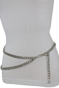 Dressy-Women-Silver-Metal-Chain-Chunky-Links-Belt-Trendy-Hip-Hop-Style-XS-S-M
