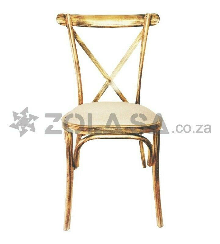 Metal Cross Back Chair - Vintage  and Wooden Colour