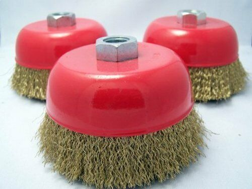 """3-pack 5/"""" Cup Brush 5//8-11nc brass coated crimped steel wire 0.012-inch 0.3mm"""