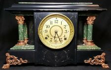 SETH THOMAS Mantle Clock Adamantine Green Marble Pillars Brass Claw Foot 3 5/8 !
