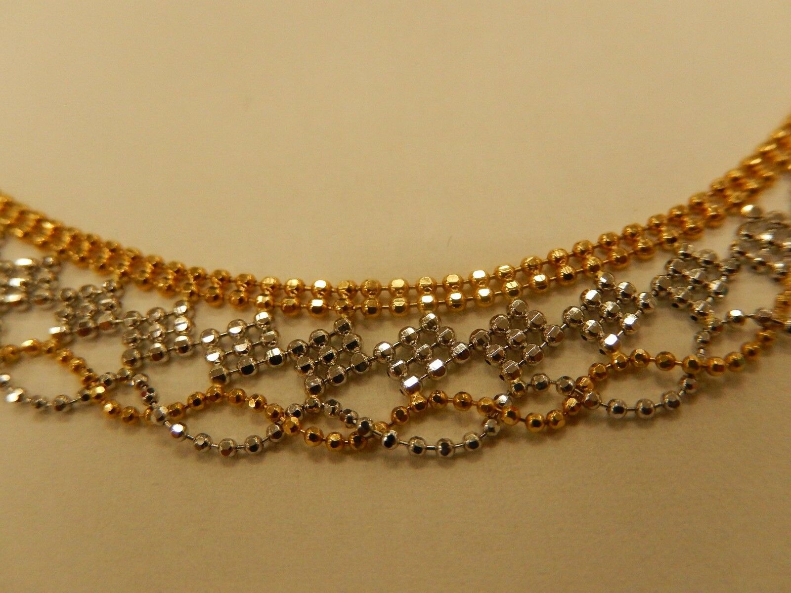Solid 18K Yellow and White gold Two Tone  Bracelet 7  Length